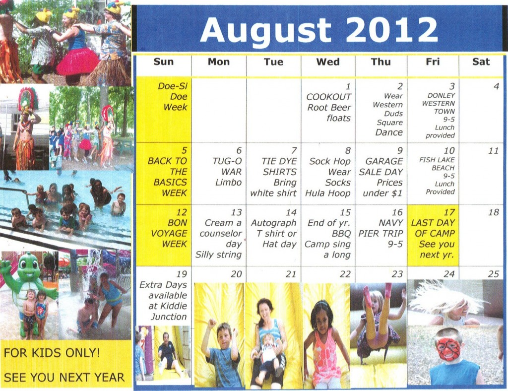 Kiddie Junction Camp Calendar August 2012