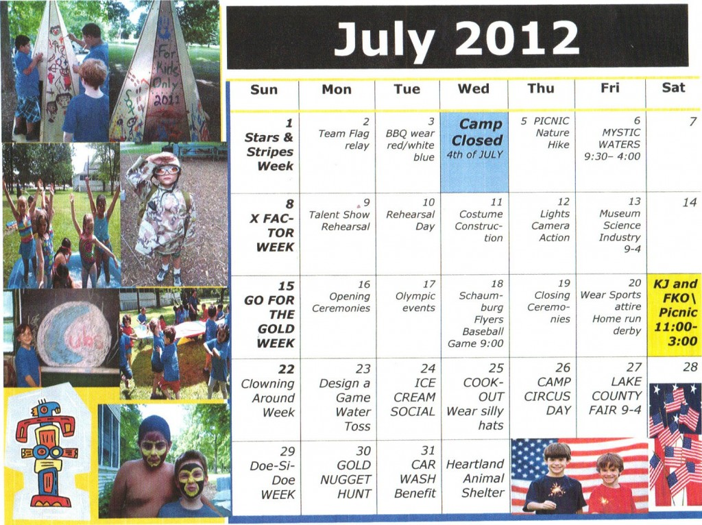Kiddie Junction Camp Calendar July 2012