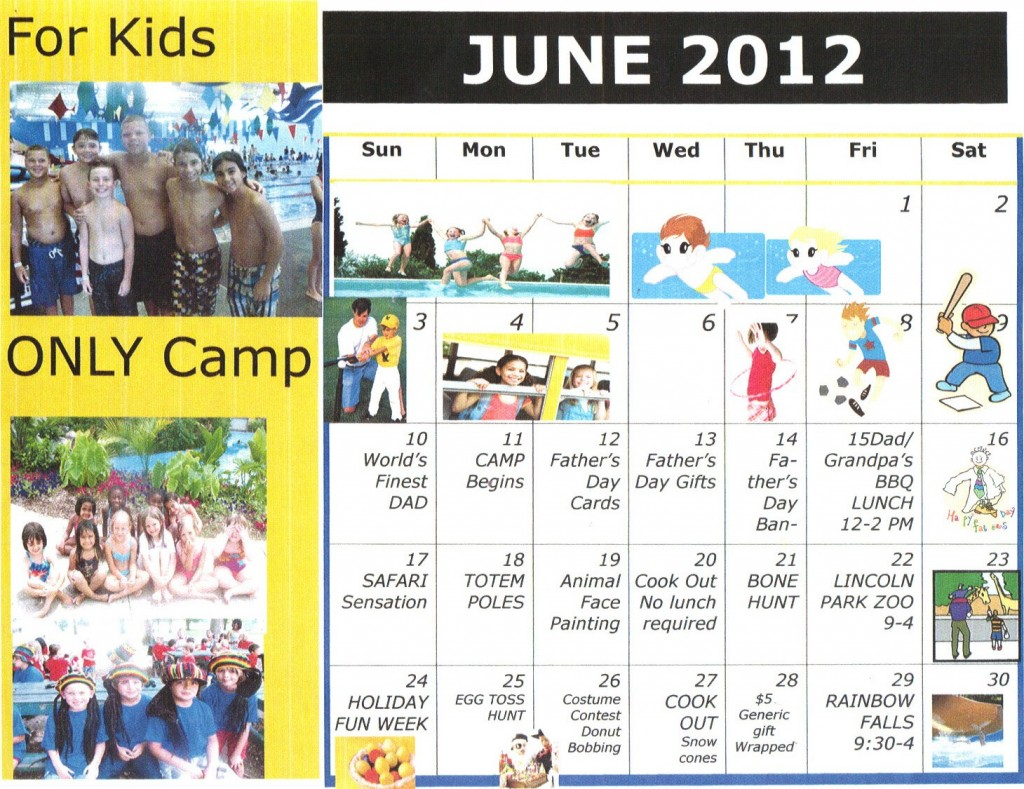 Kiddie Junction Camp Calendar June 2012