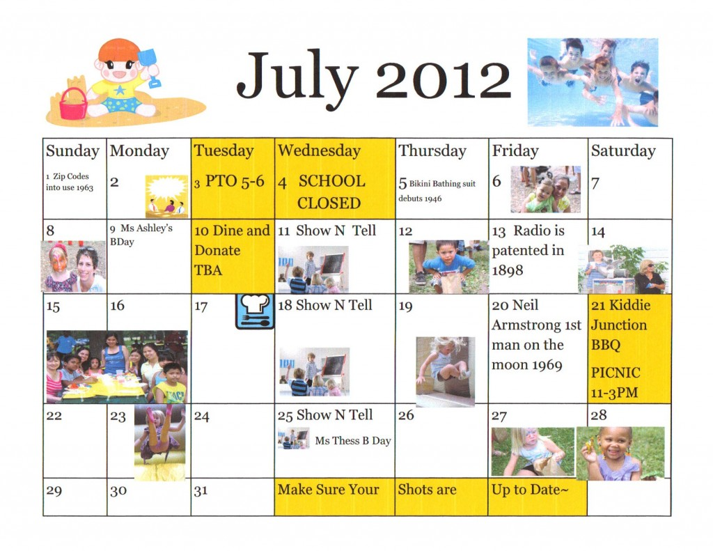 Kiddie Junction July 2012 Calendar of Events