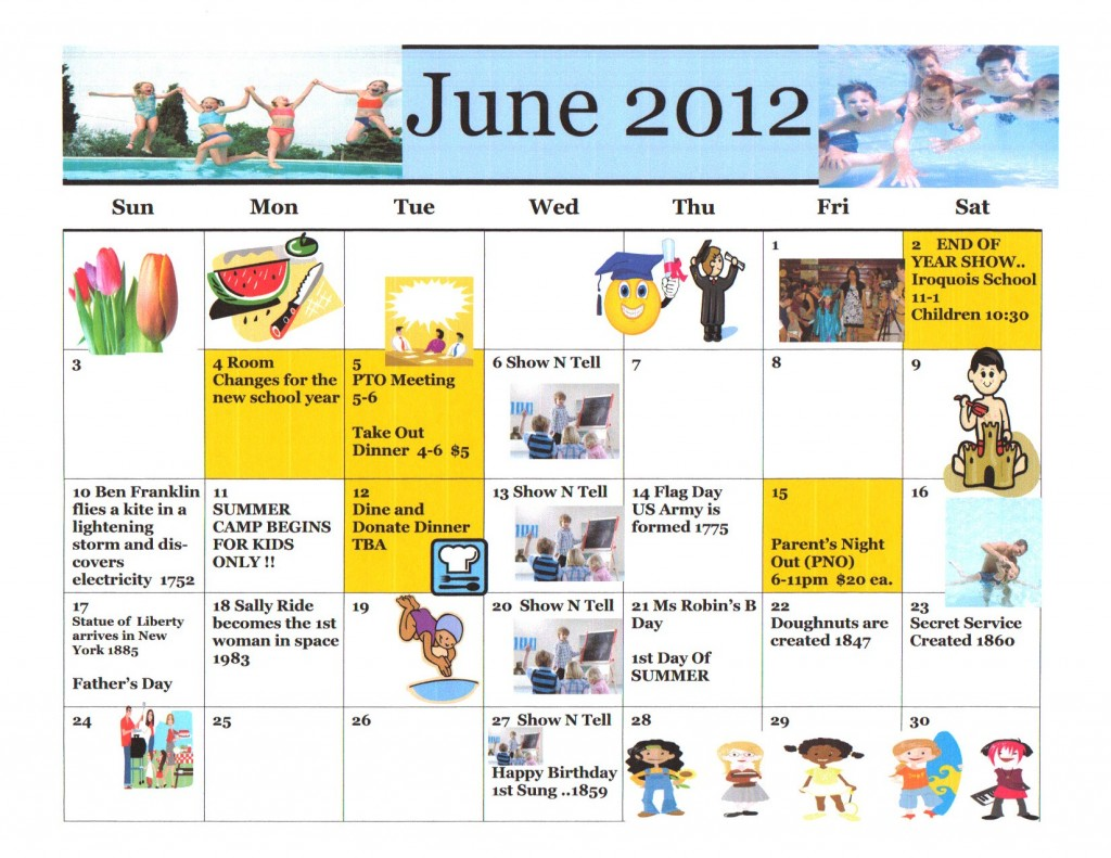 Kiddie Junction June 2012 Calendar of Events