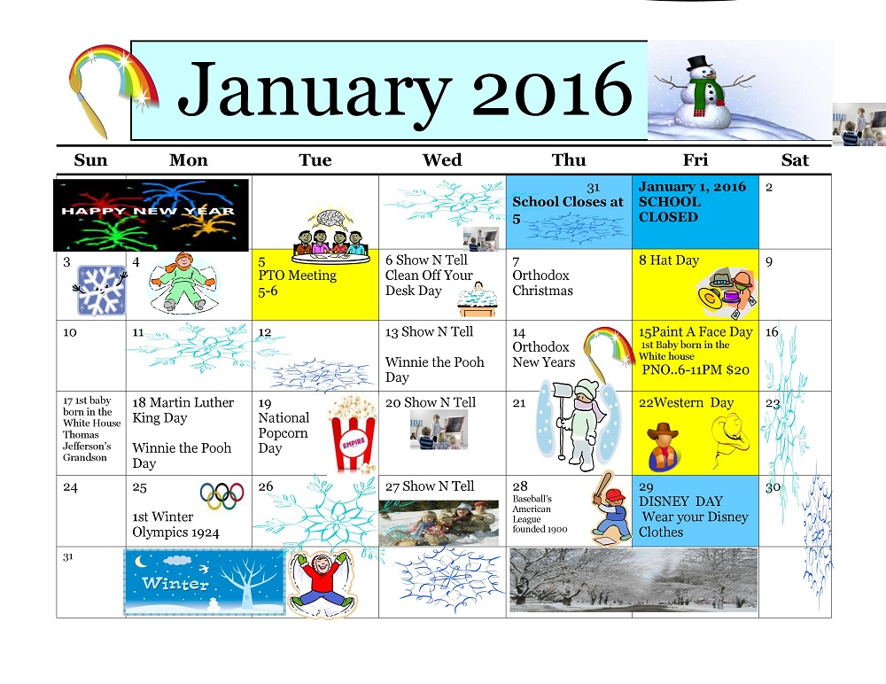 Kiddie Junction Calendar 01-2016