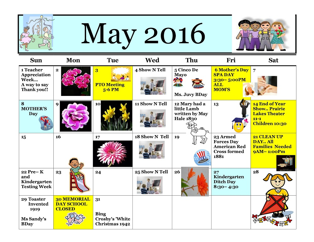 Kiddie Junction Calendar 05-2016