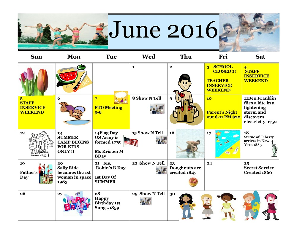 Kiddie Junction Calendar 06-2016