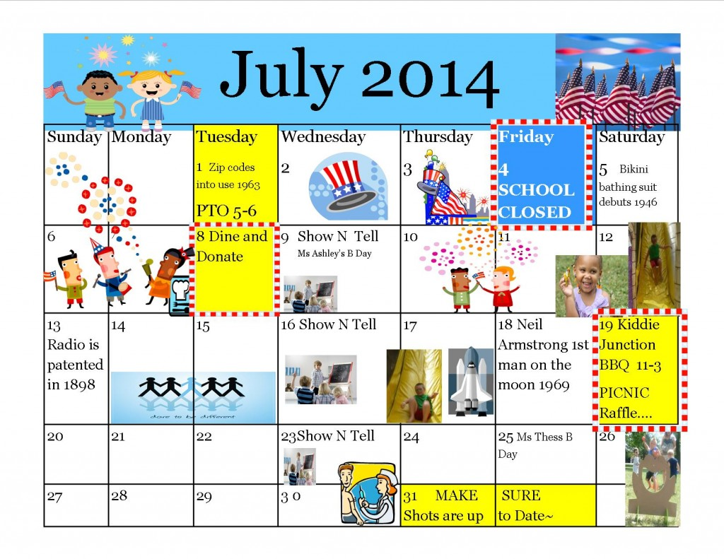 Kiddie Junction Calendar July 2014