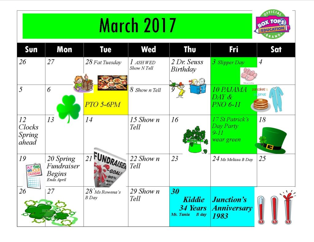 Kiddie Junction 03-2017 Calendar