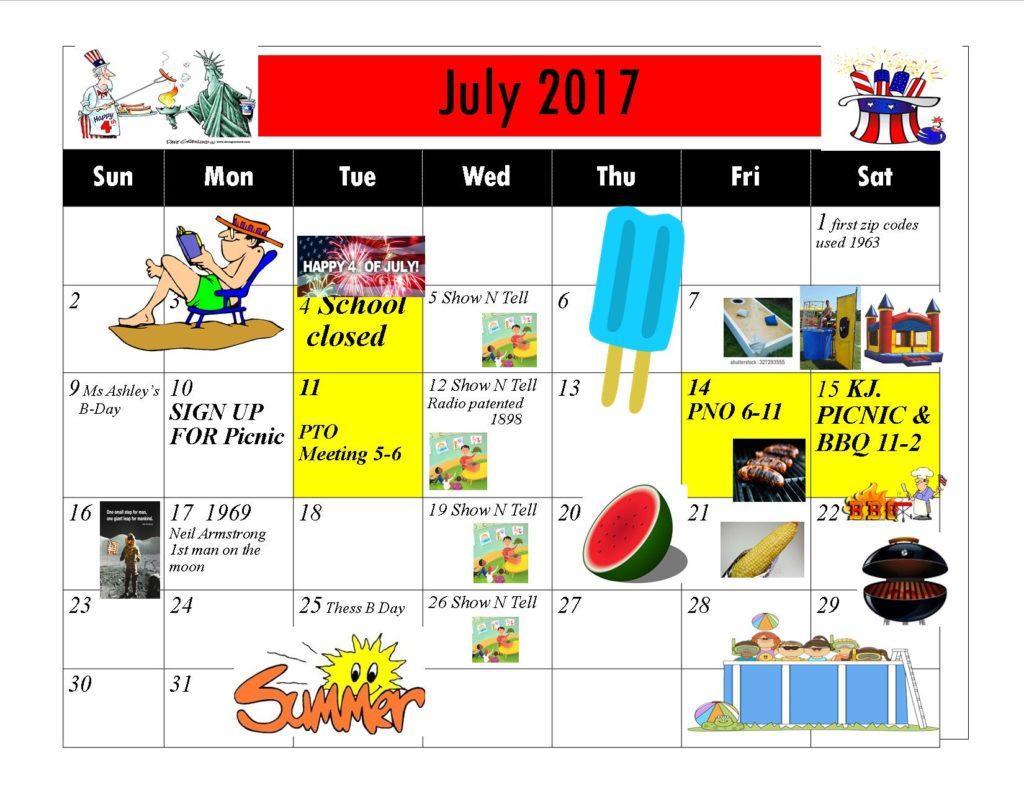 Kiddie Junction 07-2017 Calendar