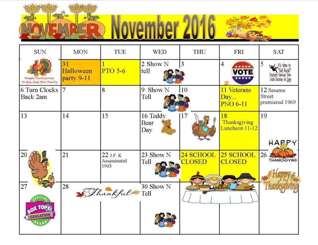 Kiddie Junction November 2016 Calendar