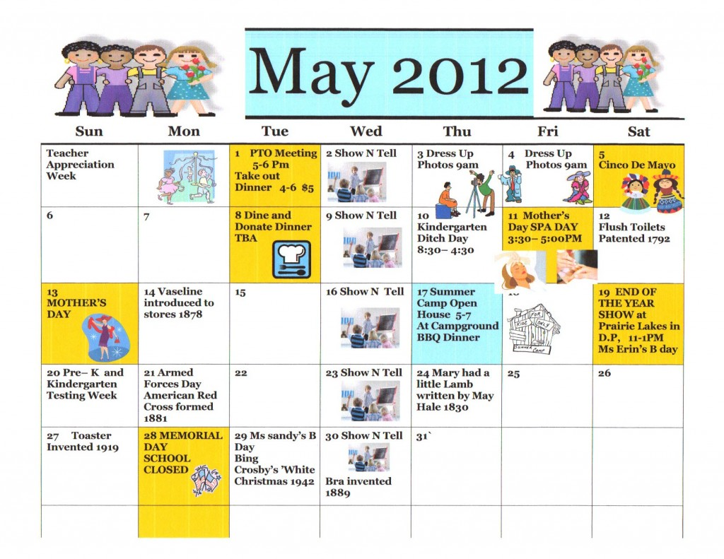 Kiddie Junction May 2012 Calendar of Events