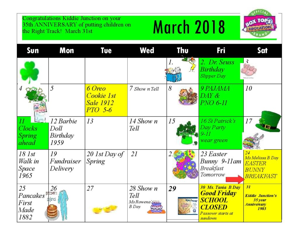Kiddie Junction Calendar March 2018
