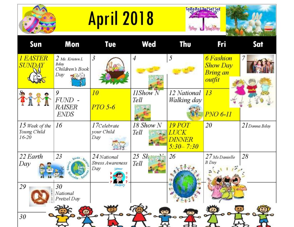 Kiddie Junction Calendar April 2018