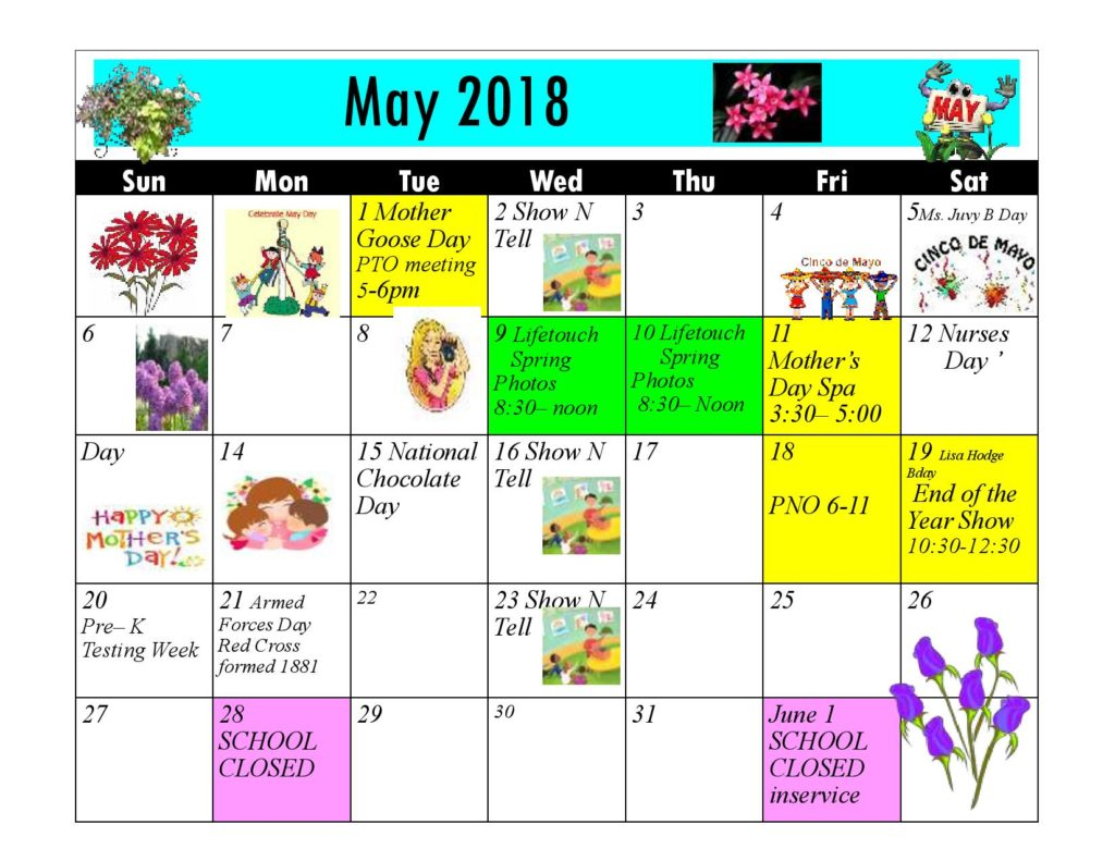 Kiddie Junction Calendar May 2018