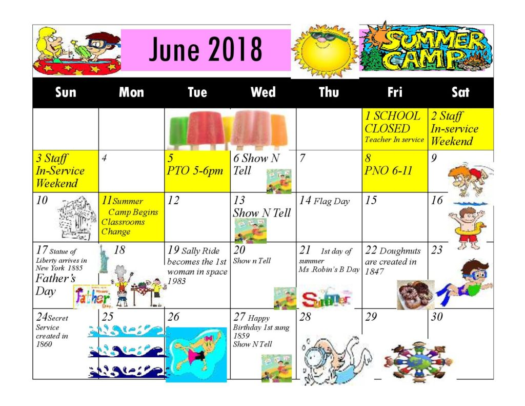 Kiddie Junction Calendar June 2018
