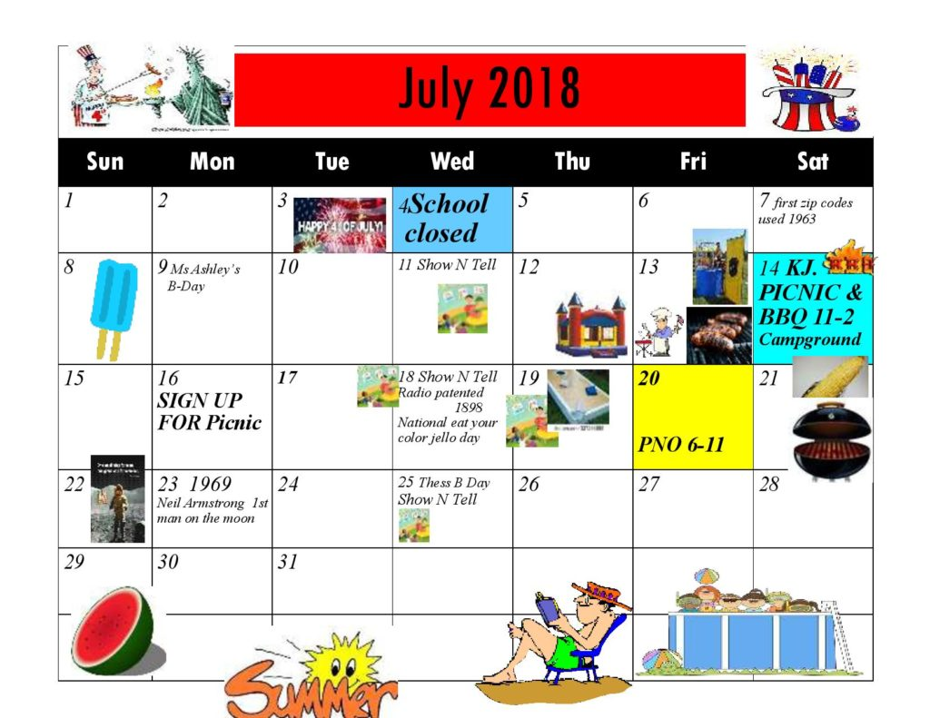 Kiddie Junction Calendar July 2018