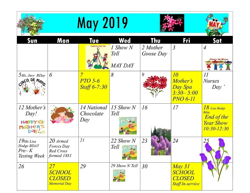 May 2019 Calendar Of Events
